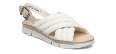 f73fbde26b04 new clarks womens shoes tri nora white leather size 3.5 uk fit D sandals