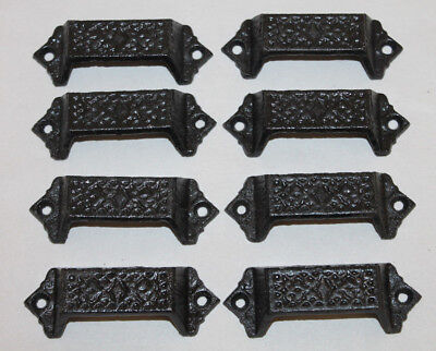 8 Ornate Cast Iron Industrial Tool Seed Index File Bin Cabinet Door Pull Handles