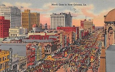 Postcard LA New Orleans Mardi Gras Canal Street Vintage Posted 1947 Louisiana PC