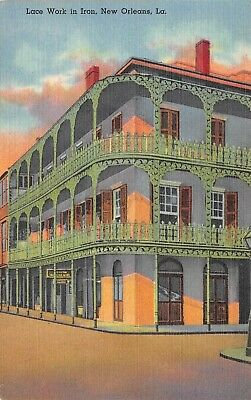 Postcard LA New Orleans Lace Work in Iron Balcony Jean Labranche Royal St Peter