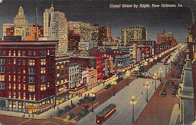 Postcard LA New Orleans Canal Street by Night Vintage Louisiana Posted 1943 PC