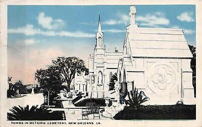 Postcard LA New Orleans Tombs in Metairie Cemetery Vintage Louisiana Unposted PC