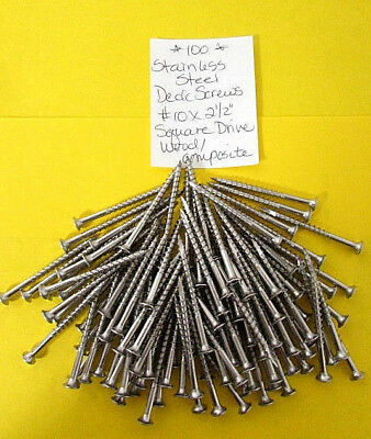 """Stainless Steel Deck Screws No.10 x 2-1/2"""" Square Drive Wood/Composite (100) B25"""