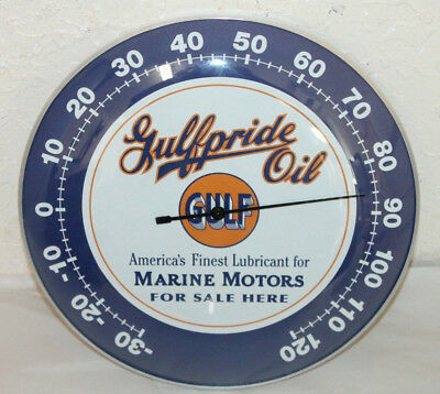 """GULFPRIDE MARINE OIL Thermometer 12"""" Round Glass Dome Sign Vintage Style  Gulf"""