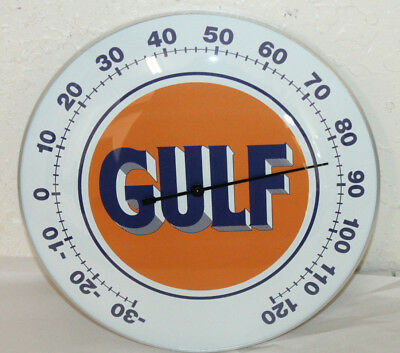 "Gulf Oil Gas Thermometer 12"" Round Glass Dome Sign Vintage Style Man Cave Decor"