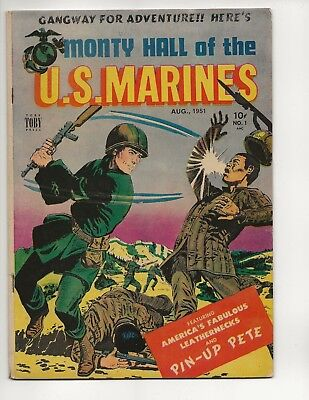 Monty Hall Of The U.s. Marines #1 Fn- Toby Press 1951 Golden Age 5 Girl Pin Ups