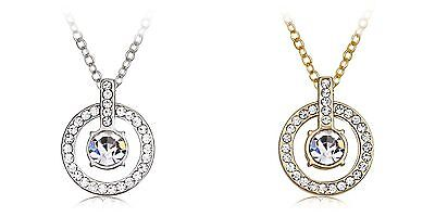 Hollow Circle Round White Gold Plated Chain Necklace Made with Swarovski Crystal