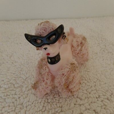 Vintage Spaghetti Poodle-Pink W/Cat Glasses Rhinestones Gold Accents