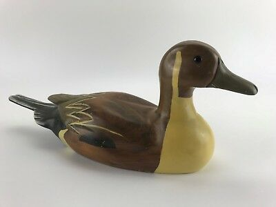 Hand Carved Hand Painted Wooden Wood Duck Decoy Hunting Man Cave Collectible