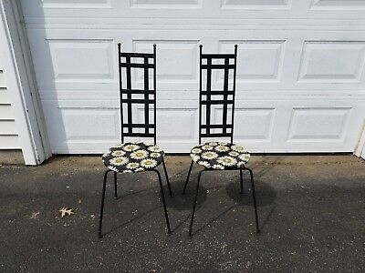 Set of 2 Mid Century Daisy Wrought Iron Patio Chairs Art Deco Furniture