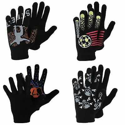Boys Black Winter Magic Gloves With Rubber Print (GL475)