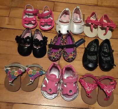 BABY GIRL (LOT OF 9 Pairs)of SIZE 2 Sandals And Dress Shoes *New& Excellent