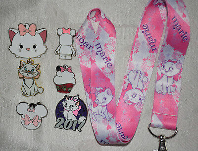 Disney Pin Starter Set 6 pin trading pins plus Marie cat Lanyard Aristocats