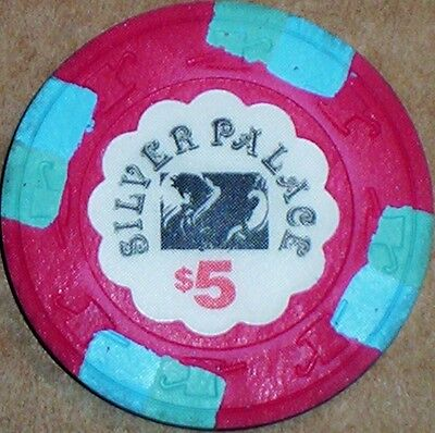 Old $5 SILVER PALACE Casino Poker Chip Vintage Antique H/C Mold Cripple Creek CO