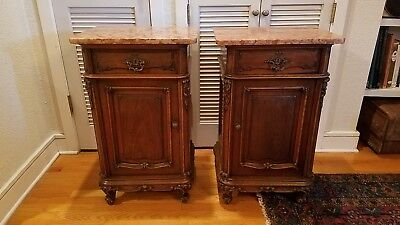 GORGEOUS MATCHING Pair of Antique Louis XV French Side Tables RARE MARBLE TOPS