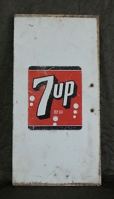 "Awesome Rare Vintage 1950s ""7 UP"" Lithographed & Pressed Steel Sign - 22"" x 11"""