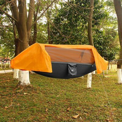 Portable Tent Camping Hammock with Mosquito Net Rain Cover Waterproof  Orange