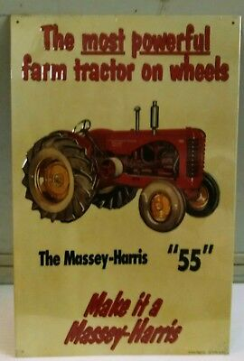ONLY ONE!  Massey Harris 55 powerful farm tractor Vintage Metal steel Sign