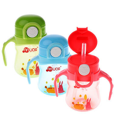 MagiDeal Baby Kid Toddler Drinking Feeding Straw Bottle Handle Sippy Cup