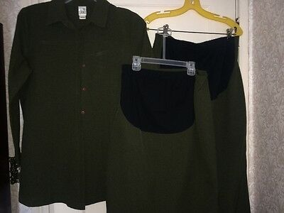 Duo Maternity 3 Piece Outfit Olive Green Shirt, Skirt And Pants Size Medium