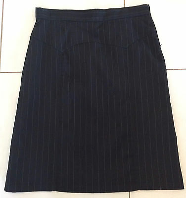 BARKINS Pencil Corporate Skirt Black with Pin Stripe Size12 Lined