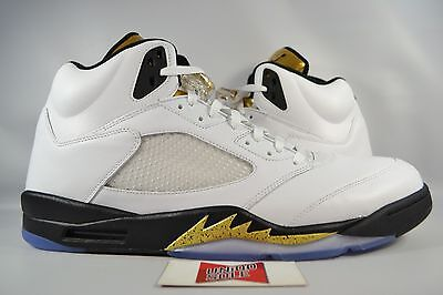 799480919cead7 NEW Nike Air Jordan V 5 Retro RIO OLYMPIC GOLD MEDAL COIN WHITE 136027-133