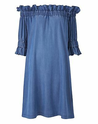 New Simply Be Womens Plus Size Tencel Bardot Dress