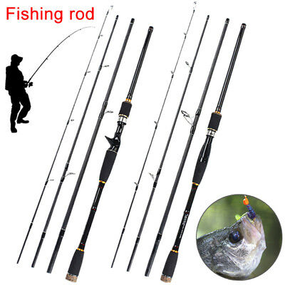 Lure Rod 4 Section Carbon Spinning Fishing Travel Casting Pole Saltwater Rod