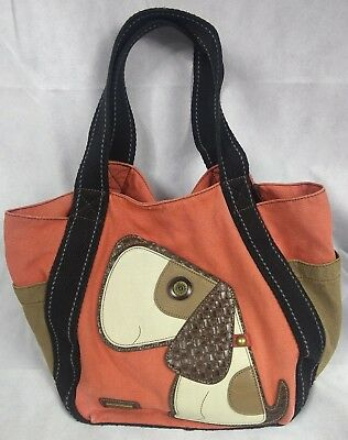 Chala Handbags Toffy Dog Tan Canvas and Leather Carryall Tote w Magnetic  Closure 275e3998b272e