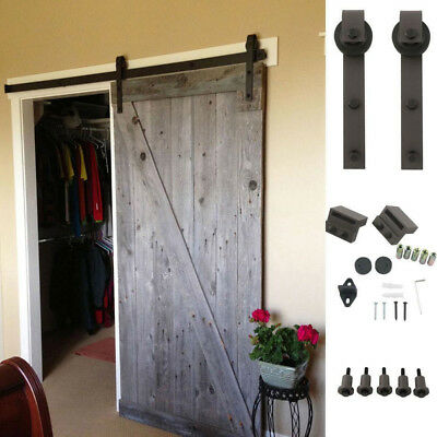 6.6 FT Sliding Door Barn Track Hardware Closet Rail Hanger Black Steel Antique