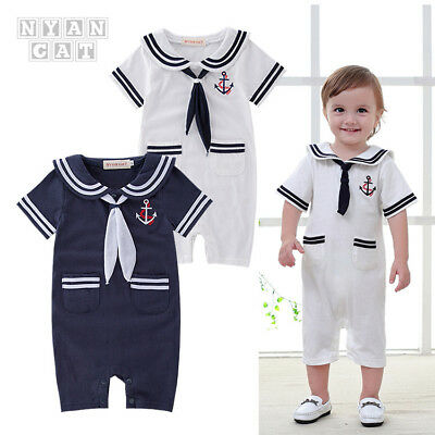800d529b9 BABY BOYS CLOTHES Sailor Romper spanish Style white 0-3 months 3-6 ...