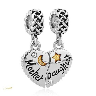 ec4db80fa Heart Mother Daughter Charm Use With Pandora Bracelet Mom Love You To The  Moon