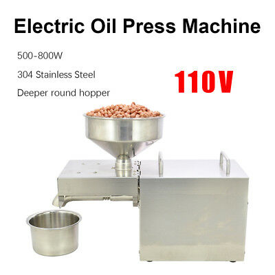 110V Stainless Steel Automatic Oil Press Extraction Machine 500~800W