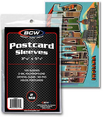 X2 BCW Ultra Thin Sleeves for Postcard Storage 2 mils Pack of 200 Free USA Post