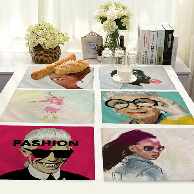 Cartoon Character Insulation Cotton Linen Placemat Dining Table Mat Home Kitchen