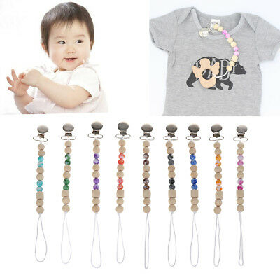 Baby Teething Toy Wooden Bead Dummy Clip Holder Pacifier Clips Soother Chains