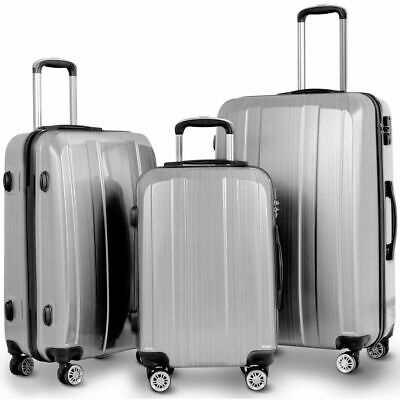 "GLOBALWAY 20"" 24"" 28"" 3Pc Luggage Set ABS+PC Trolley Suitcase Spinner w/TSA Lock"