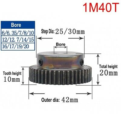 1Mod 40T Spur Gear 45# Steel Motor Pinion Gear Outer Dia 42mm Bore 6-17mm x 1Pcs