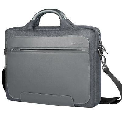 Inateck 14 inch Water Resistant Laptop Bag PU Leather Messenger Bag Gray