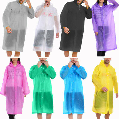 Reusable Hooded Rain Poncho Waterproof Rain Cape Camping Hiking Cycling Unisex