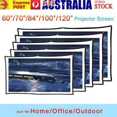 """60/70/100/120"""" Projector Screen 16:9 HD Portable Home Theatre Outdoor Projection"""