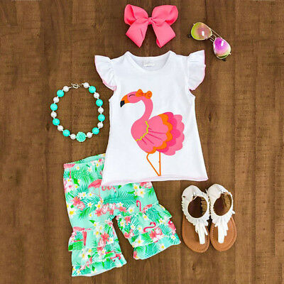US Toddler Kids Baby Girls Flamingo Clothes Outfits Short Sleeve Tops +Pants Set