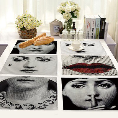 Vintage Fornasetti Cotton Linen Placemat Dining Coffee Table Mat Home Kitchen