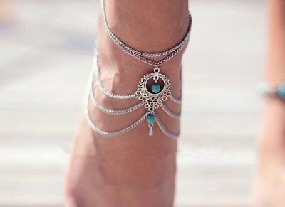 Womens Silver Ankle Bracelet Anklet Adjustable Chain Beach Alloy Turquoise Foot
