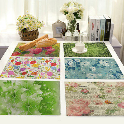 Watercolor Floral Insulation Cotton Linen Placemat Dining Table Mat Home Kitchen