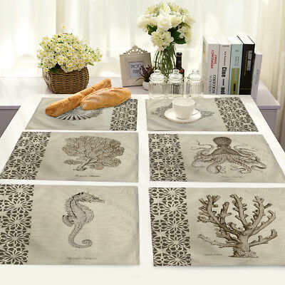 Hand-painted Animal Print Cotton Linen Placemat Dining Table Mat Home Kitchen