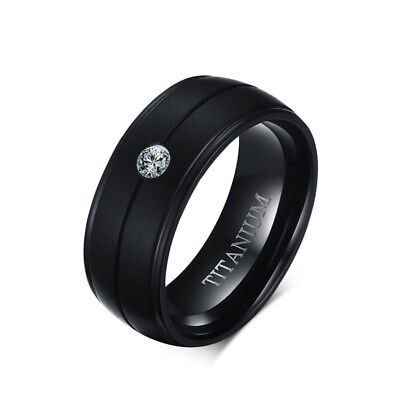Men's Punk Pure Titanium Black Ring 8mm Matte Wedding Bands CZ Stone Men Jewelry