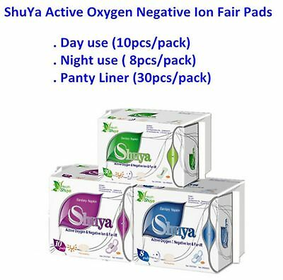 Hot~Shuya Organic Cotton Anion Sanitary Napkin Day Use+Nigh Use+Panty Liners