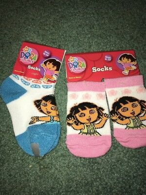 Dora the Explorer Socks Size 18-24 Months & 6-12 Months Lot Of 2 NEW With Tags