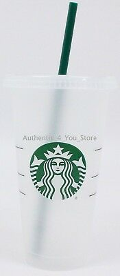 NEW 2018 Starbucks Reusable Plastic 24oz Cold Cup Venti Size with Lid and Straw